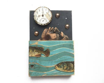 Night Swimming (3), 4x6 small original mixed media assemblage, skinny dipping, found object art, carved wood folk art, by Elizabeth Rosen
