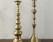 Hollywood Regency Brass Candle Sticks ~ Extra Large ~ Hearth Candle Sticks