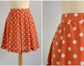 Vintage Orange Polka Dot Skirt - 80s, flared, flirty, fun