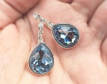 Aquamarine Teardrop Earrings, Sky Blue Teardrop Dangles, Spring Earrings, Robins Egg Blue Earrings, Silver Leverback Earrings