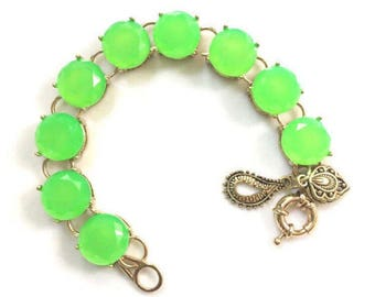 Lime Green Statement Bracelet Gold Charm Fluorescent Green Bright Bold