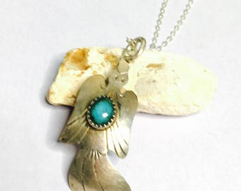 Vintage Native Bird Pendant/Necklace, turquoise, stamped Sterling, Clearance Sale, Item No. S092