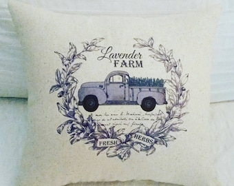 French Pillow, Antique truck, Farmhouse Decor,  Lavender, Provence, Vintage truck, Shabby Chic, French Country Pillow, Home Decor, France