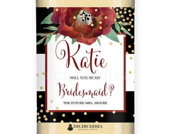 Will You Be My Bridesmaid? WINE LABEL Christmas Bridesmaid Proposal Holiday Champagne Personalized Maid of Honor Wine Proposal - Katelyn