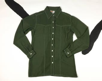 90s Green Sheer Long Button Down Shirt / Clueless / Pearl Buttons / Club Kid / See Through / Layer / Rayon / Western / Grunge / y2k /