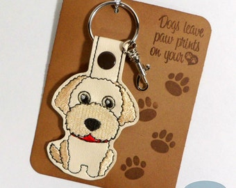 Labradoodle Dog Breed Key Fob, Purse Charm