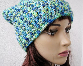 crocheted slouchy multicolor hat, unisex beanie colorful hat, green, turquoise, blue