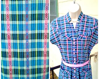 Vintage 1940s 40s  Day Dress House Dress Cotton Plaid Rockabilly VLV Unworn
