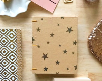Metallic Gold Star Kraft Notebook