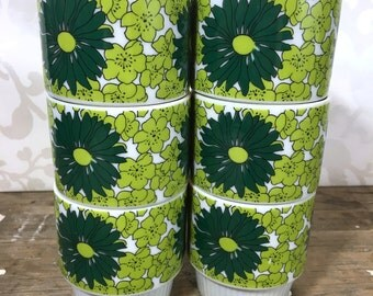 vintage Japanese Stacking Mugs, 2 tone green flowers, made in Japan,  1960's, floral accent, coffee cups, teacups