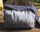 Hmong Vintage Indigo Batik Bag, Handmade Up cycled Messenger Bag, Batik Bag, Batik Shoulder Bag