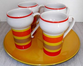 1970s Mugs Vintage Coffee Cups Orange White and Yellow Coffee Tea Mugs With Tray
