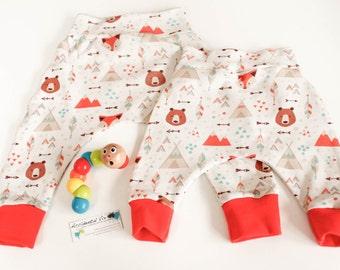 New baby harem pants | woodland fox bear fabric | Unisex baby shower gift | 0-3m, 6-12m