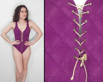 1980s MAINSTREAM Swimsuit Purple + Metallic Gold Lace Up Front Bathing Suit