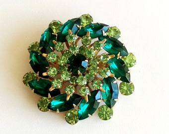 Vintage Rhinestone Brooch Pin Emerald and Peridot Green Rhinestones Pinwheel Style