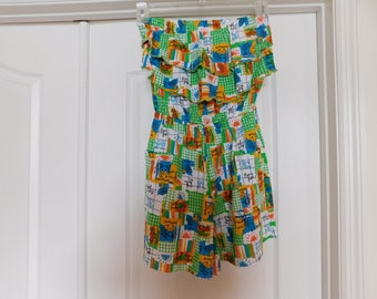 Adorable Vintage Tropical Romper - Size Small - Great Fabric, Great Look, Great Colors