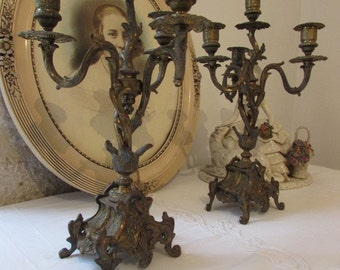 Fabulous French pair of candelabras