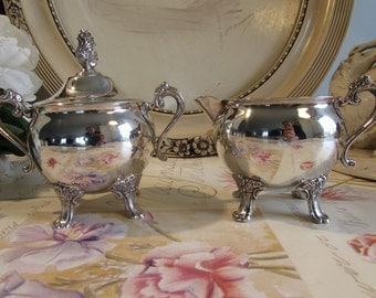 Vintage superb silver plate sugar bowl and creamer / milk jug.
