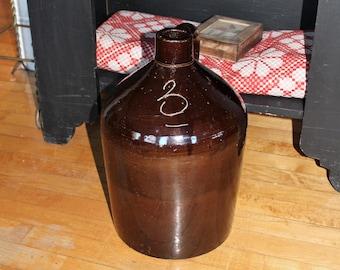 Antique 3 Gal Stoneware Jug Brown Albany Slip Glaze Circa Late 1800s