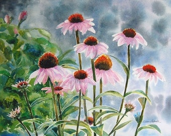 Watercolor ORIGINAL - Late Bloomers - flowers, cone flowers, Echinacea purpurea, garden, pink, summer, sunflower