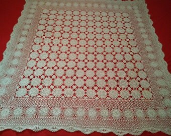 BLACK FRIDAY SALE vintage crochet tablecloth, off white crochet table cloth, square crochet tablecloth, vintage table cloth,