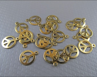 20 x Peace sign with hole, brass, A18