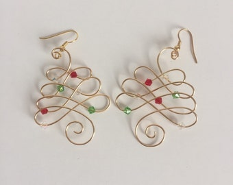 Gold Wire Christmas Tree Earrings Red White and Green Beads