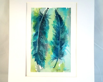FEATHER WATERCOLOR PAINTING - Turquoise Blue Feathers, Feather Art, Wall Art, Two Feathers, Original Watercolor Wall Art, Home Decor