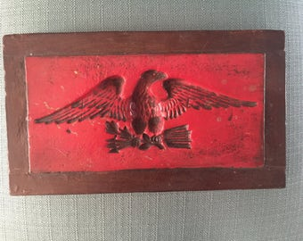 Vintage Bald Eagle Plaque for Mid Century Home Man Cave Office - Patriotic Traditional Tattoo