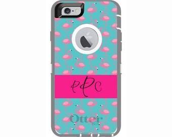 Personalized iPhone 6 & iPhone 6s Flamingo Otterbox Defender Phone Case | Custom Phone Cases