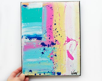 Art on 8x10 canvas, Home art decor, interior decor ideas, pink blue turquoise art painting, canvas art painting in acrylic, Original 8x10""