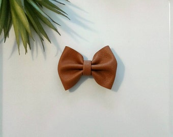Girl's modern hair clip tan faux leather girls bow modern camel chestnut brown