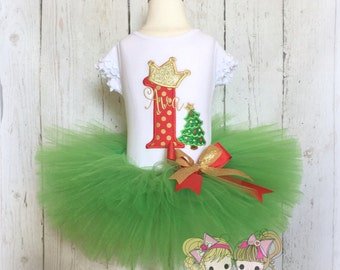 Christmas birthday outfit - First Christmas outfit - 1st Birthday outfit - Christmas tree outfit - Christmas princess - Green tutu