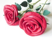 3rd Anniversary Gift Classic Red Rose  Single Stem  Flower Leather  bouquet  Wedding gift Long Stem Flower Valentines Day