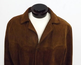 60s Western Style Snap Front Brown Suede Leather Simco Jacket Coat Size 44
