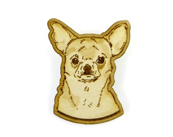 Chihuahua Brooch, lasercut dog brooch, chihuahua pin, birch wood chihuahua brooch, dog jewelry, dog gift for chihuahua owner