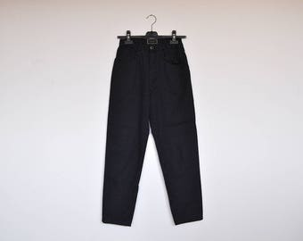 Vintage Louis London Tiny Polka Dot High Waist Navy Stretchy Cotton Tapered Pants