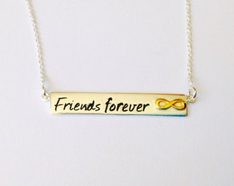 Friends forever pendant, bar  Necklace, infinite pendant - Sterling Silver (925)