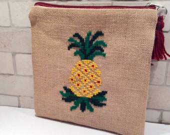 Pineapple jute pouch bag, hand embroidered boho pouch with summer fruits, one of a kind, handmade accessories pouch