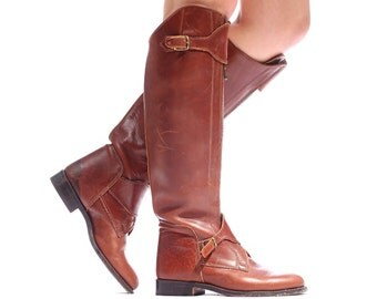 Vintage Equestrian Boots Leather RIDING 70s Hand Made Tall Harness Rustic Brown Zip Up High Quality Knee Boot wom Us 7.5 , Eur 38, Uk 5