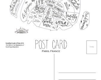 Paris Neighborhood Map: 4x6 Post Card (Pack of 5)