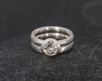 Moissanite Wedding Set - Moissanite Engagement Ring in Silver - Moissanite Solitaire Ring - Size 7 Engagement Ring - Ready to Ship