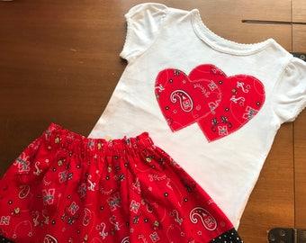 Nebraska Girls Shirt/ Nebraska Skirt / Nebraska Football Outift / Go Big Red Shirt / Go Big Red Skirt / Nebraska Football Girls Outfit