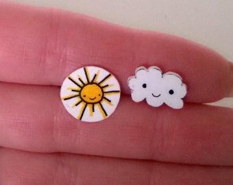 Sunshine and Cloud Kawaii Mismatched Earrings Ooak Jewelry Studs Girl Teen Cute Yellow