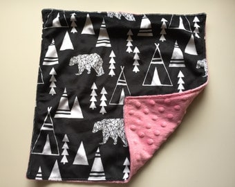 Bears and Teepees lovey with your choice of Minky // In Stock, READY TO SHIP