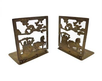 Vintage Brass Horse & Carriage Bookends // Asian, Chinese, Greek Key // Hinged, Folding, Collapsible Book Holder Stand // Made in Hong Kong