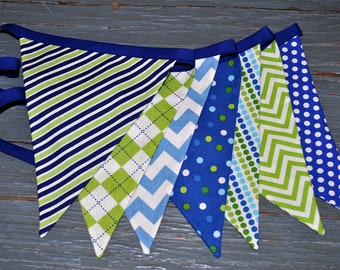 Boys blue and green fabric pennant banner bunting - boys room, birthday party decor, photo prop, flag banner