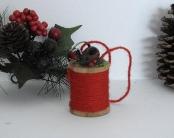 Vintage Teak Mouse and Spool Ornament