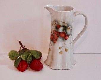 Victorian Porcelain Strawberry Motif Long Pitcher