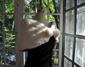 Creamy White Fur Stole With Pom Poms/Vintage 1960s/Kittenish Sweet Feminine Formal Wear/Bridal Wedding Shrug Stole